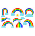 colored rainbows with clouds collection vector image