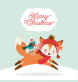 cute animal merry christmas isolated icon vector image