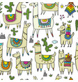 cute lamas seamless pattern for your design vector image vector image