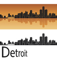 Detroit skyline in orange background vector image vector image