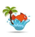 fish water splash palm summer vacation vector image