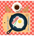 Frying pan of breakfast with fried eggs bacon vector image vector image