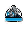 futuristic disc jockey turntable mascot vector image