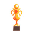 golden winner cup with handball ball cartoon vector image vector image