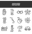 hawaii flat icons set vector image