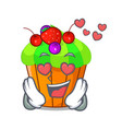 in love black currant cupcake isolated on mascot vector image vector image