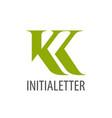 initial letter kk green logo concept design vector image