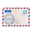 international mail envelope with liverpool blue vector image vector image
