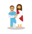 jesus help and blessed patient male cute vector image vector image
