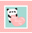 Kawaii panda baby bear Happy Valentines Day White vector image