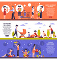 nanny banners set vector image vector image