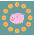 Pink piggy bank and dollar coins Card vector image vector image