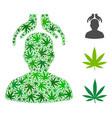 psychiatry hands mosaic of hemp leaves vector image vector image