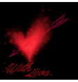 Red heart on black vector image