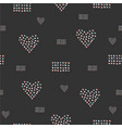 seamless pattern hand drawn hearts in brush vector image vector image