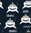 seamless pattern with sharks isolated on black vector image vector image