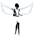 Silhouette of a Young Woman with Angel Wings vector image vector image