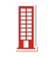 silhouette with office building in light red vector image vector image