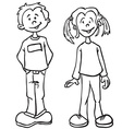 simple black and white boy and girl vector image vector image