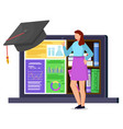 student stand near laptop with electronic library vector image vector image