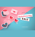valentines day pink 3d paper cut sale template vector image