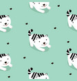 white cat cartoon seamless pattern vector image