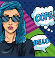 woman with oops bubble pop art vector image vector image