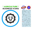beef certificate rounded icon with set vector image