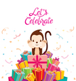 Monkey With Pile Of Gifts vector image