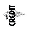 a guide to bad credit credit cards text word vector image vector image