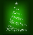abstract christmas tree of snowflakes on a green vector image vector image