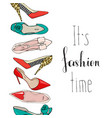banner with womens shoes and the inscription its vector image vector image