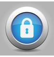 blue metal button with closed padlock vector image vector image