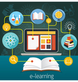 Book and Laptop with E-Learning Icons vector image vector image