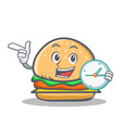 burger character fast food with clock vector image vector image