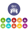 Car and key set icons vector image vector image
