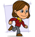 cartoon running brunette girl character vector image vector image