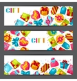 Celebration banners or flayers with colorful gift vector image