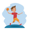 color scene with faceless handball player vector image vector image