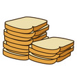 colorful silhouette stack slices bread bakery food vector image