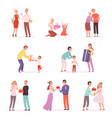 couple giving gifts happy children with gifts vector image vector image