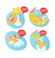 cute baby boy sleeping set toddler cartoon infant vector image