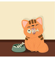 cute cat with fish bone vector image