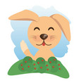 cute dog animal winking vector image