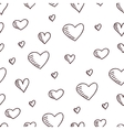 Cute hand-drawn seamless pattern with hearts vector image