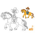 cute little boy in cowboy suit riding on a horse vector image