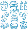 doodle of food various delicious vector image vector image