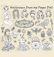 dress up paper doll with halloween witch costumes vector image vector image