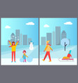 family winter activities city vector image vector image