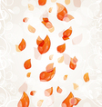 Flying autumn orange leaves background vector image